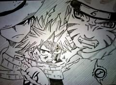 Art - Crayon Natsu , Naruto et Luffy .