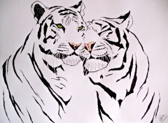 Art - Crayon tribal tigers