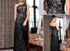 Grandes marques et publicité robe de soirée noire en tencel