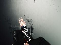 Digital Art Skull Face Fire