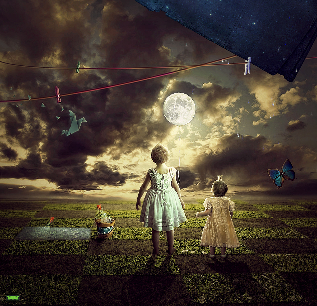 Wallpapers Digital Art Photocomposition she take the moon