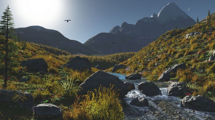 Wallpapers Digital Art 3D - Vue Torrent de montagne