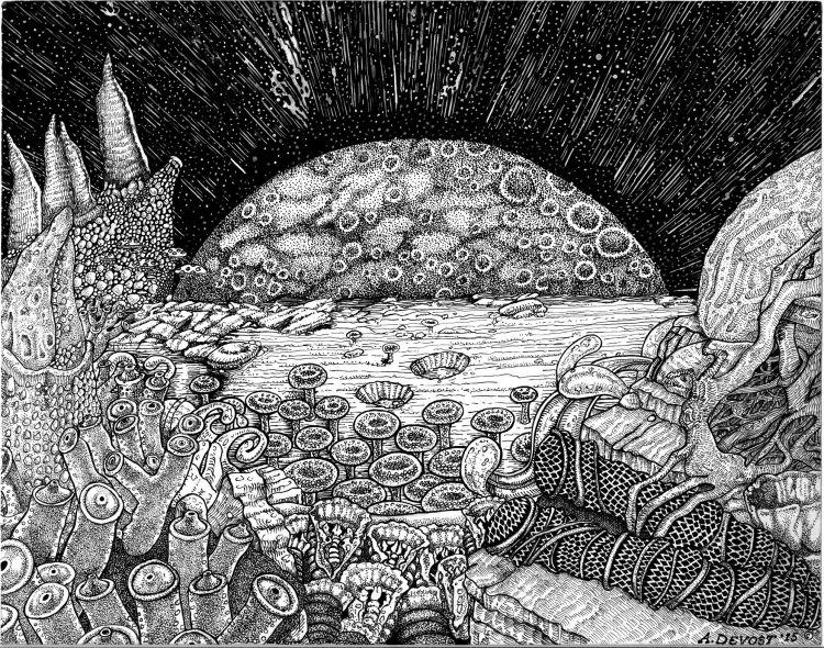 Fonds d'écran Art - Crayon Paysages Karadjin rises