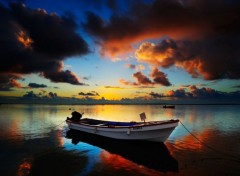Nature Sunset with boat