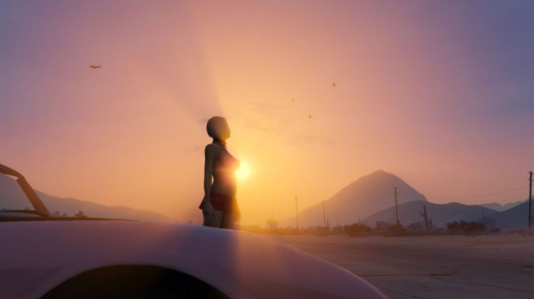 Wallpapers Video Games GTA 5 Bimbo et auto sur GTA V