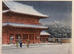 Art - Peinture Neige sur le temple Zojoji (Shiba, Tokyo) - 1953 - Kawase Hasui