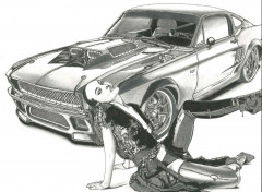 Art - Pencil Ford Mustang