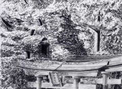 Fonds d'écran Art - Crayon Allée de torii