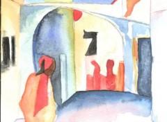 Fonds d'écran Art - Peinture Ville marocaine...