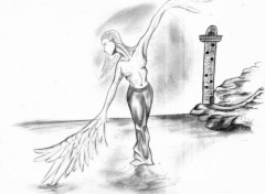 Wallpapers Art - Pencil sirene dansant sur l eau