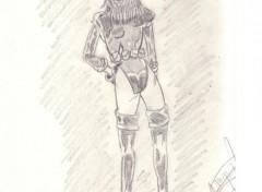 Fonds d'écran Art - Crayon femme vue de dos