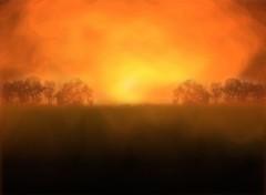 Fonds d'écran Nature paysage avec effet de feu