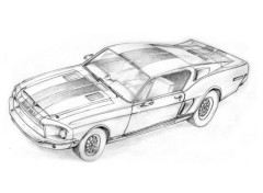 Wallpapers Art - Pencil Mustang shelby GT 500 KR 1968