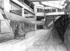 Fonds d'écran Art - Crayon Hall de l'hopital Georges Pompidou