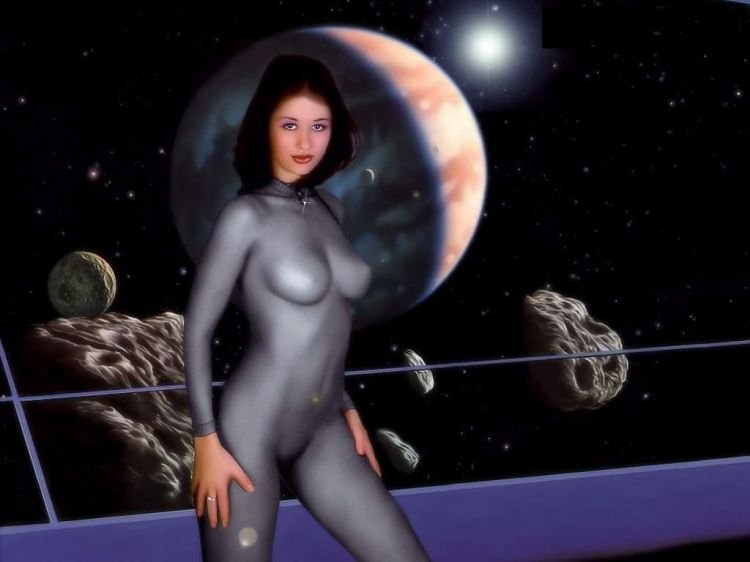 Nude Beautiful Woman In Space Figurative Realism Black And