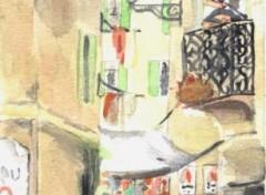 Fonds d'écran Art - Peinture Ruelle étroite.