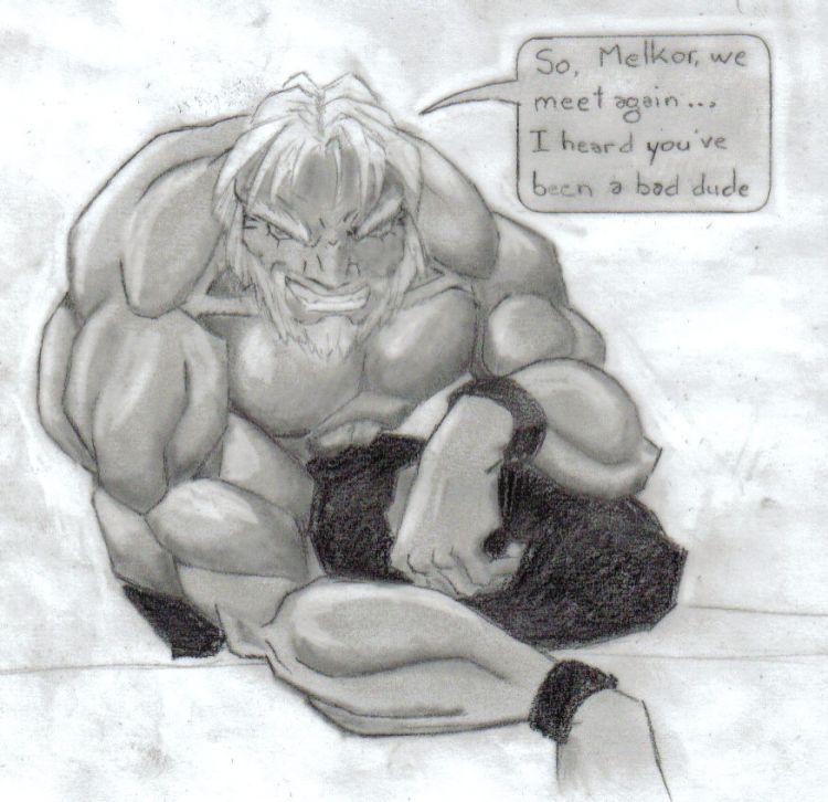 Fonds d'écran Art - Crayon Fantasy - Seigneur des anneaux Tulkas... un dieu du Seigneur des Anneaux
