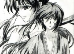 Wallpapers Art - Pencil Kenshin & Kaworu