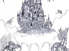Fonds d'écran Art - Crayon La cité des Anges
