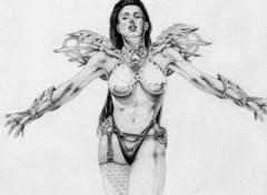 Fonds d'écran Art - Crayon Femme barbare
