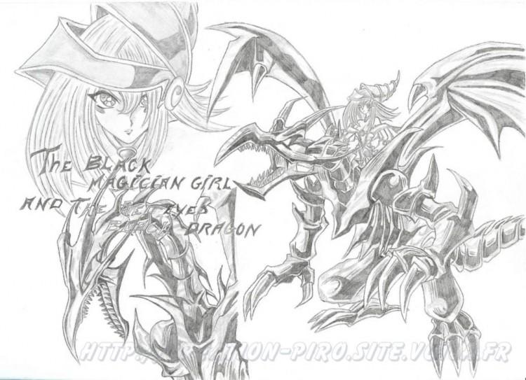 Wallpapers Art - Pencil Manga - Yu-Gi-Oh! Black Red  Eyes Dragon and the Black Magician girl