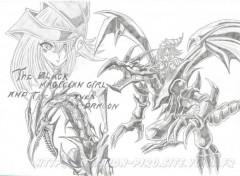 Fonds d'écran Art - Crayon Black Red  Eyes Dragon and the Black Magician girl