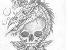 Wallpapers Art - Pencil l'orchidee,le dragon et la mort