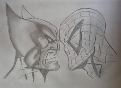 Fonds d'écran Art - Crayon wolverine contre spiderman