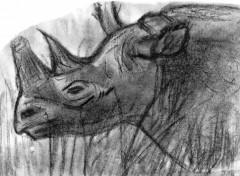 Fonds d'écran Art - Crayon Rhinoceros dans la savane