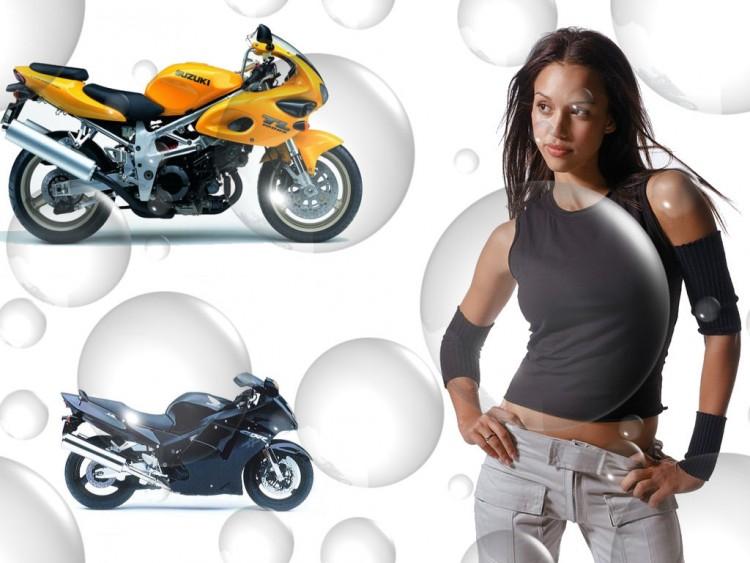 Fonds d'écran Motos Filles et motos la belle Jessica Alba