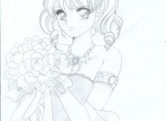 Wallpapers Art - Pencil la belle au bouquet