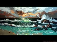 Fonds d'écran Art - Peinture Couché de soleil sur la mer