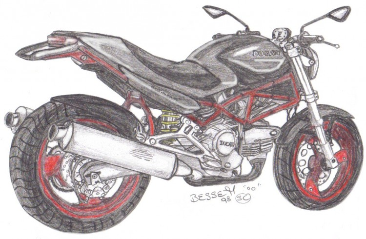 Wallpapers Art - Pencil Cars and motorbikes ducati monstro