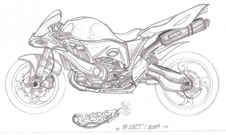Fonds d'écran Art - Crayon Voitures et Motos roadster sport