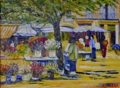 Fonds d'écran Art - Peinture MArché aux fleurs