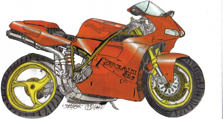 Wallpapers Art - Pencil Cars and motorbikes Ducati 916.