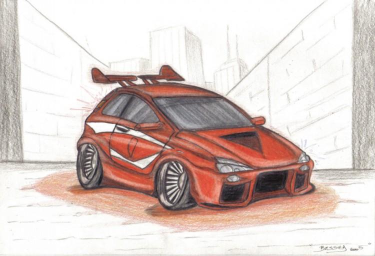 Fonds d'écran Art - Crayon Voitures et Motos tunning car.