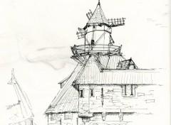 Fonds d'écran Art - Crayon petie moulin sur grand chateau
