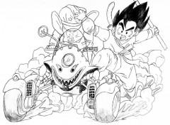 Fonds d'écran Art - Crayon Goku + Olong sur buggy