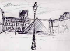 Fonds d'écran Art - Crayon Le Louvre