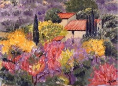 Wallpapers Art - Painting Provence , un Mas