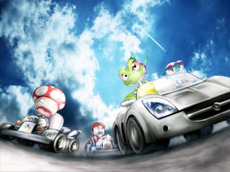 Fonds d'écran Jeux Vidéo Nintendo ZuberMariokart Versus Need For Speed