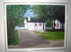 Fonds d'écran Art - Peinture Chalet fleuri