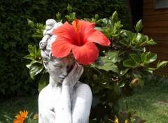 Fonds d'écran Nature Statue avec fleurs