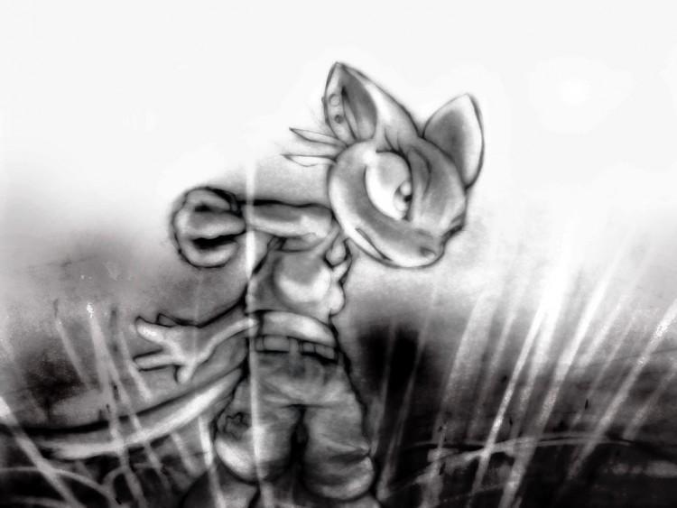 Fonds d'écran Art - Crayon BDs - Animaux kittie sumons a fire spirit