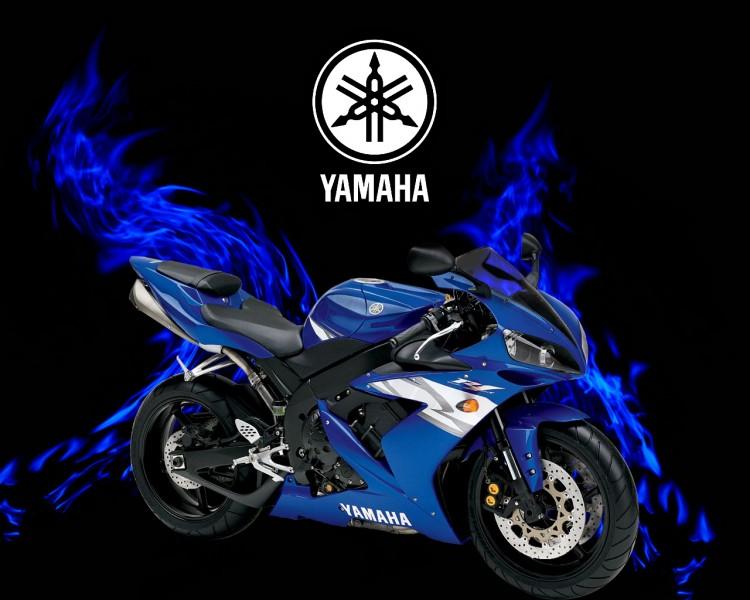 Wallpapers Motorbikes Yamaha yamaha r1 fire bleu