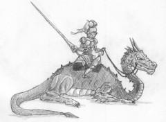 Fonds d'écran Art - Crayon dragon,cavalier