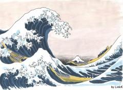 Fonds d'écran Art - Peinture La Grande Vague d'aprés Hokusaï