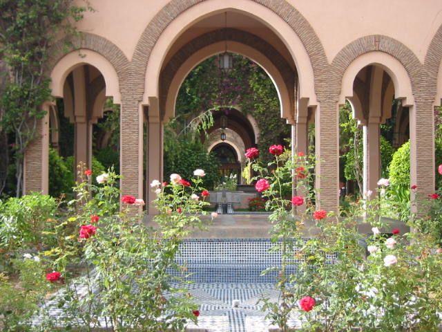 Wallpapers Trips : Africa Morocco Maroc - Jardin intérieur dans la palmeraie de Marrakech