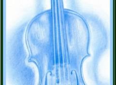 Fonds d'écran Art - Crayon Violon Bleu